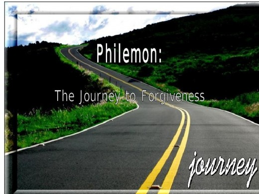 This photo deals with the book of Philemon shows a journey to forgiveness .
