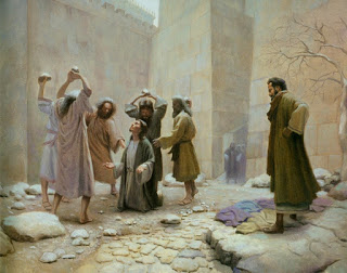 Stephen stoned to death by the Pharisees.