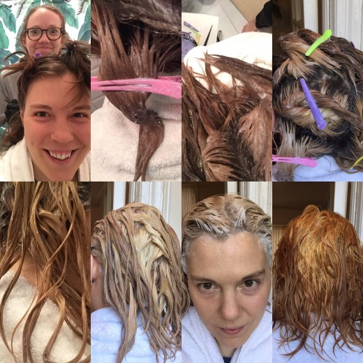 Pictures taken roughly every 10 minutes while the bleach is processing