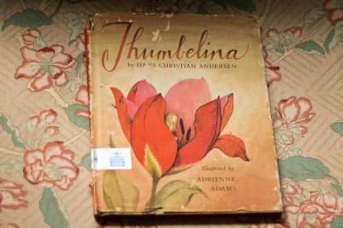 Vintage Book Children's Thumbelina Illustration