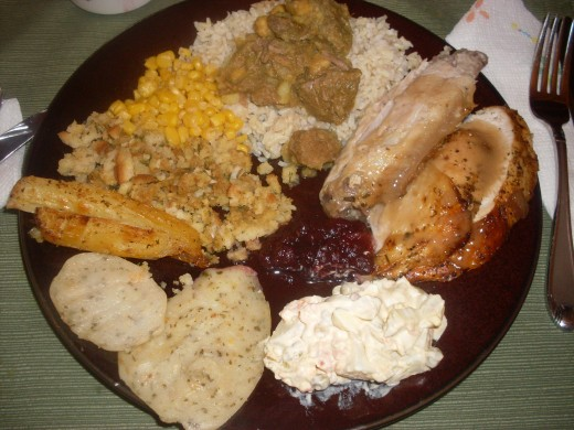 Thanksgiving dinner plate of food