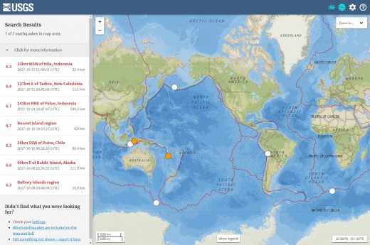 USGS map and listing of M6.3 or larger earthquakes for the month of October 2017 (the one M6.8 quake listed is an apparent overestimation by the USGS and is best rated at M6.7 per other reliable sources)
