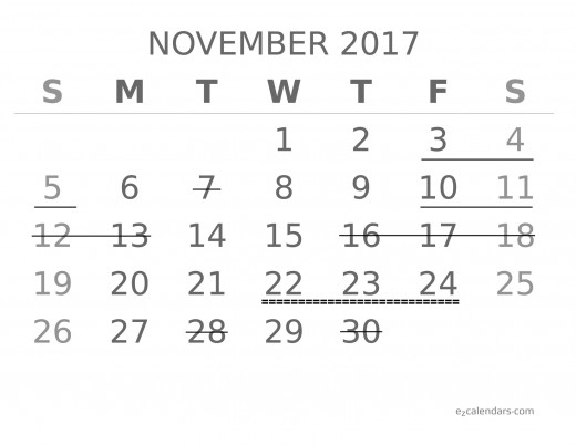 Forecast for seismic activity in November 2017 for earthquakes of at least 6.8 magnitude (with special emphasis on the 22nd through the 24th).