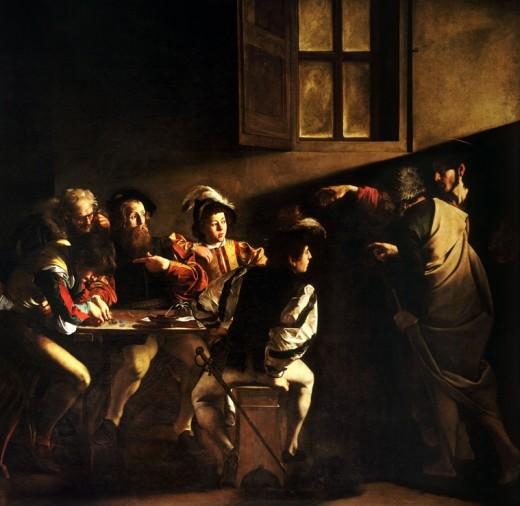 The Calling of Saint Matthew by Michelangelo Merisi da Caravaggio