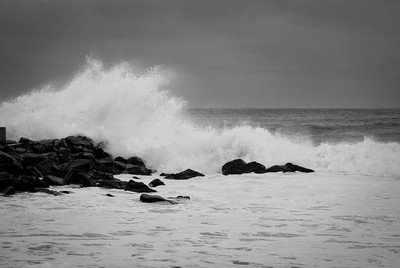 Waves crashing off jetty in Belmar New Jersey.