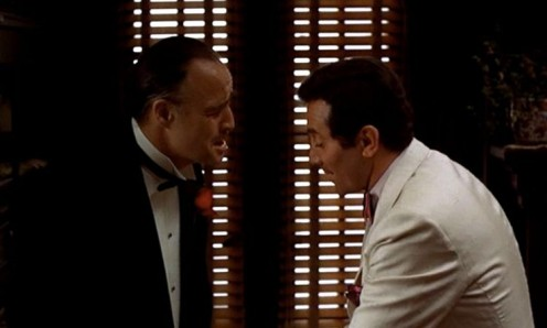 """""""Oh, Godfather, I don't know what to do..."""" """"You can act like a man! What's the matter with you? Is this how you've turned out? A Hollywood finocchio who cries like a woman?"""" Johnny Fontane and Vito Corleone"""
