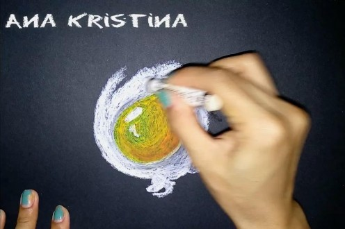 7. Using curvy and even strokes, build up the color and shape of the egg white.