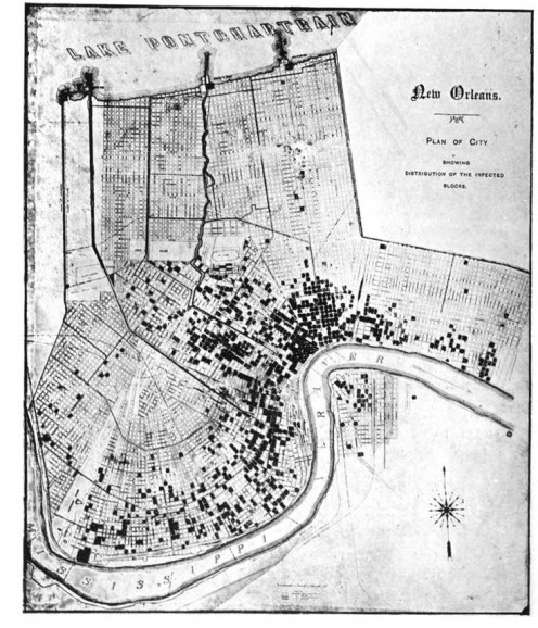 Map of the 1905 Yellow Fever outbreak in New Orleans