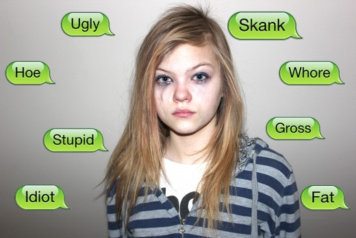 A victim illustrating what is is like to face cyberbullying