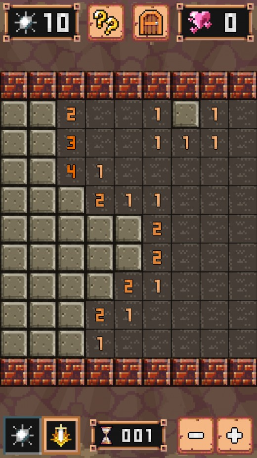 A screenshot of a classic Minesweeper game