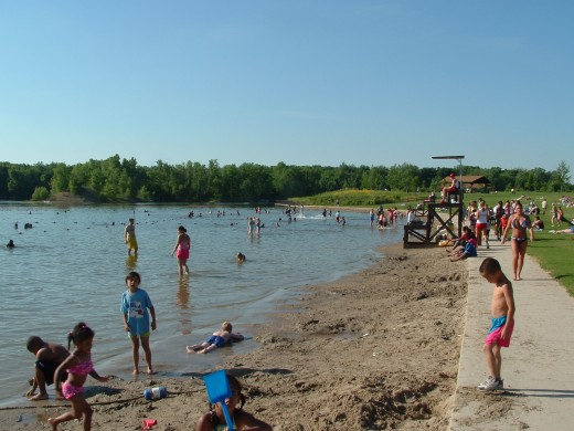 A typical summer scene at Hawk Island Beach.