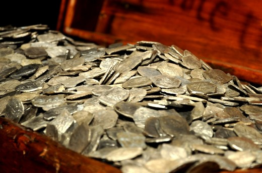 Actual gold from the Whydah wreckage off the coast of Cape Cod found in the 1980s.
