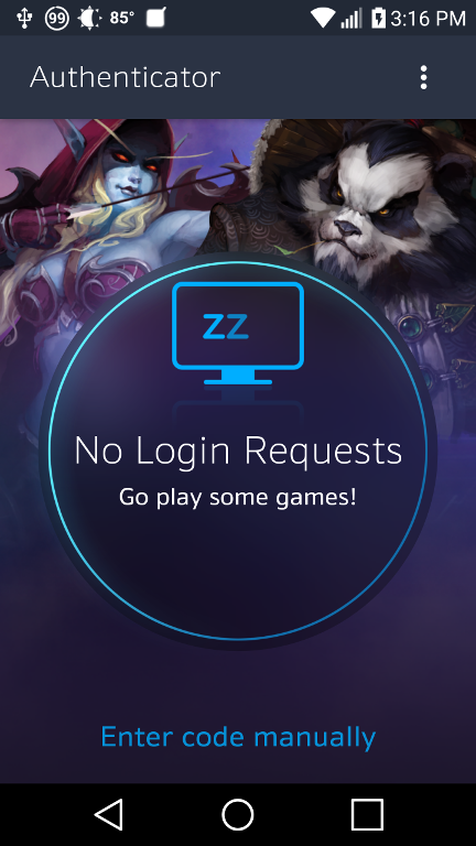 The Blizzard authenticator application on Android.