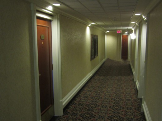 The Missing Room at the Banff Springs Hotel. The Wall Where the Door to Room 873 Should be. There is Even a Light Over the Spot: the Same Type of Light That is Over the Door to Every Room in the Hotel.