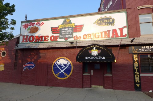 The famous Anchor Bar (home of buffalo wings) featuring some Buffalo sports pride.