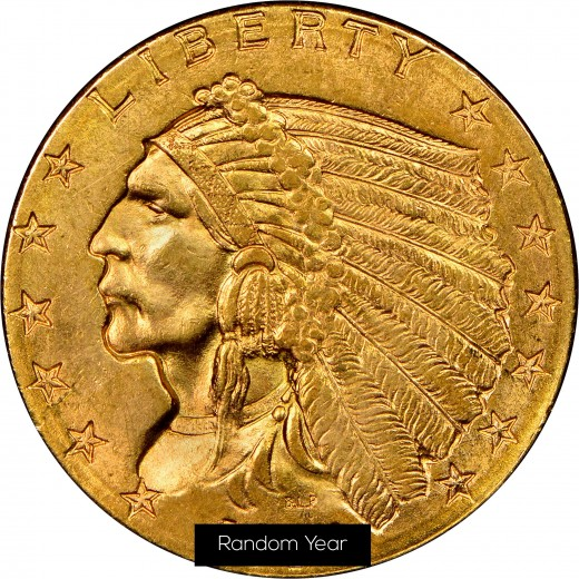 Indian Head Gold $2 1/2 Coin.