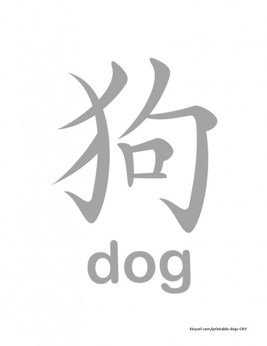 "Chinese character and English word for ""dog"" to trace"
