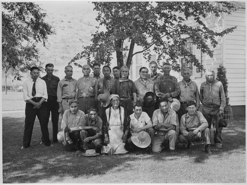 Colville Business Council with some of the hereditary ciefs and older members of the Colville Confederated Tribe.
