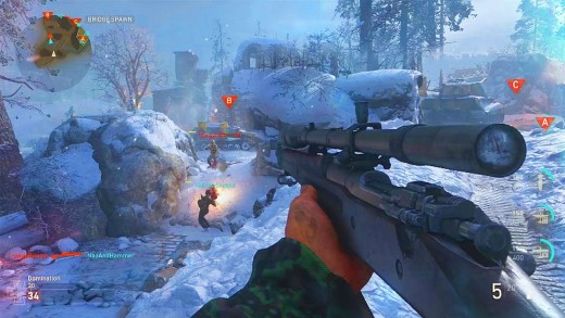 """(Image of Call of Duty: WWII multiplayer screenshot) - this appears to be a hacked-lobby match on """"WWII"""" multiplayer on the PC - perhaps one of the many reasons to buy the console version of """"WWII"""" instead of the PC platform - riddled with hacks"""