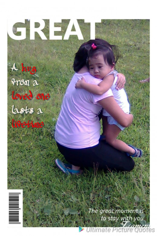 A hug from a parent will ease any pain or fear of a child