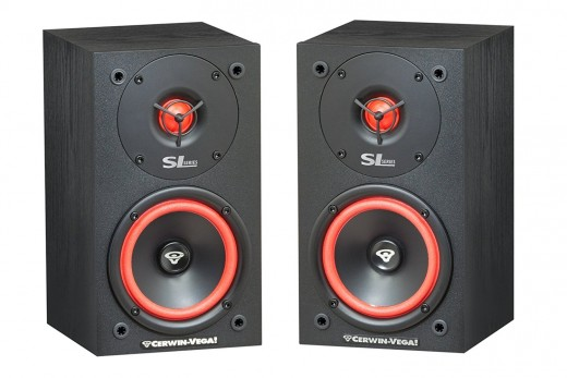 A pair of Cerwin Vega SL5M 2-Way bookshelf speakers.