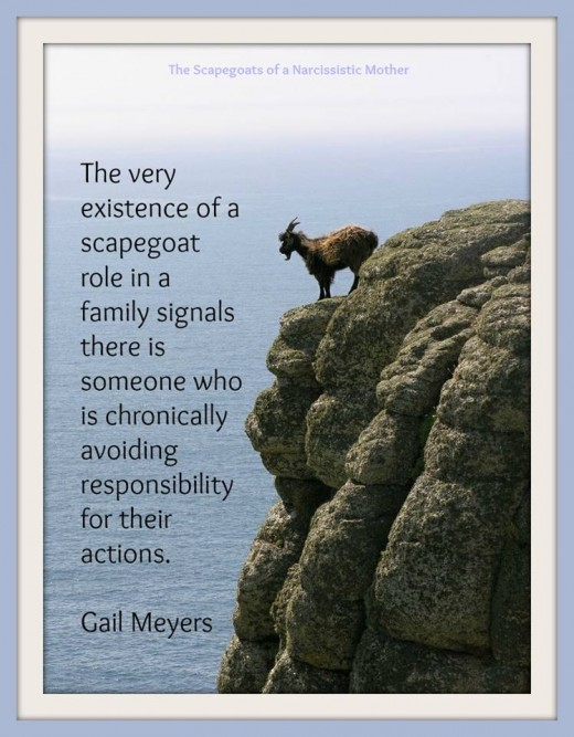 The very existence of a scapegoat role in a family signals that someone is chronically avoiding responsibility for their actions. - Gail Meyers