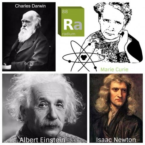 Charles Darwin, Marie Curie, Albert Einstein, Isaac Newton