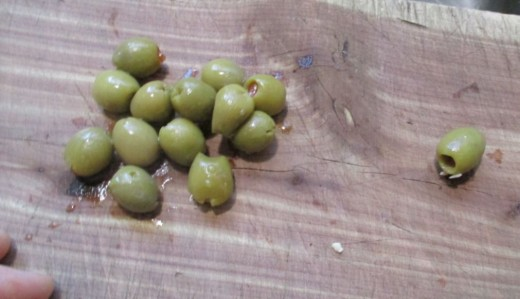 chop some green olives