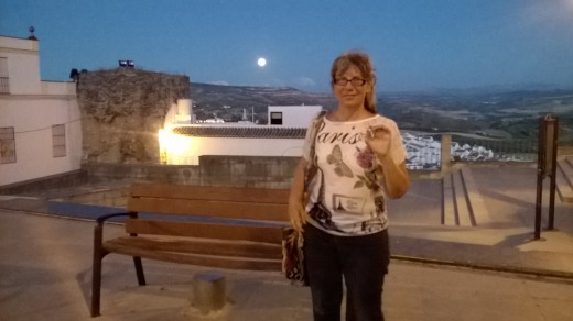 That's me on a moonlit night in Olvera! :) Still traveling in my mid-60s!