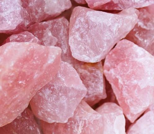 Rough cut, non-tumbled rose quartz