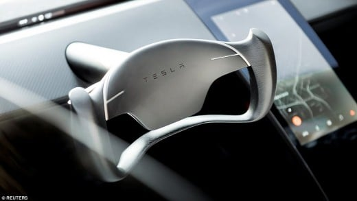 The steering wheel of the futuristic car