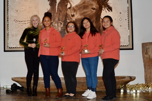 Sue-Anne Welles of the Mustang Leadership Partners with some of her students. Her film, When the Dust Settles, won Wild Horse Documentary Full Length and Best of Festival Wild Horses.