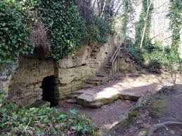 Also in the vicinity, the entrance to local hermit St Robert's Cave
