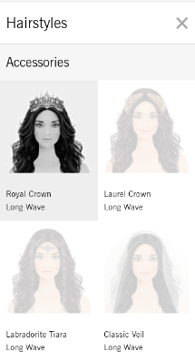Once you choose a hairstyle, you can choose any of the accessories you own to add to it!