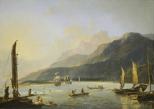 Resolution and Adventure in Matavai Bay painted in 1776 by William Hodges. Shows the two ships at anchor in Tahiti in August 1773.