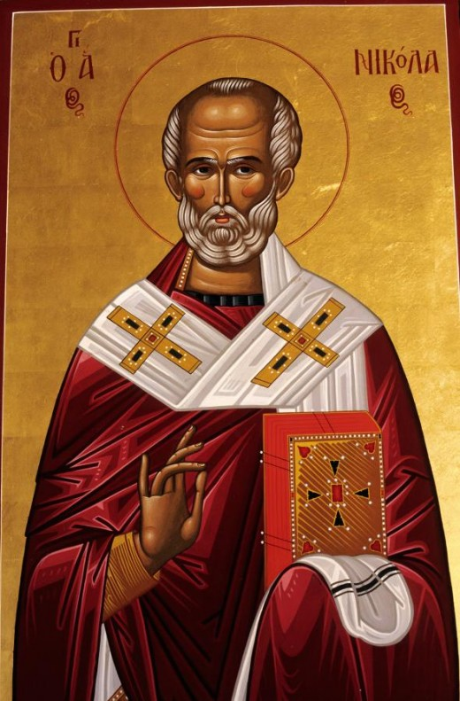 Saint Nicholas was a third and fourth century bishop, who is today very much revered in the Orthodox church.