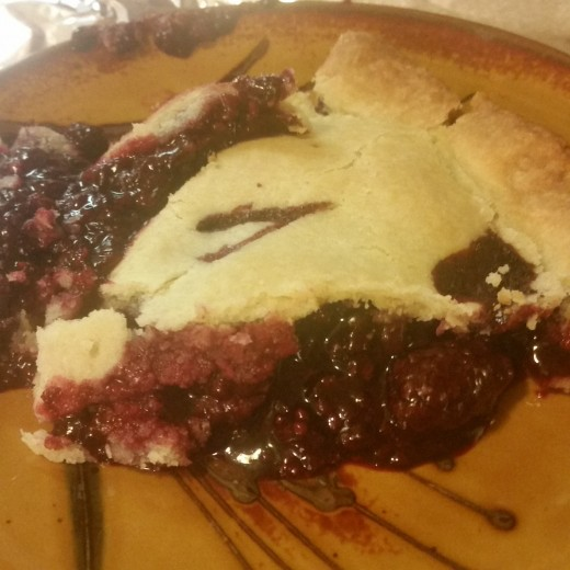 A lovely slice of gluten-free blackberry pie