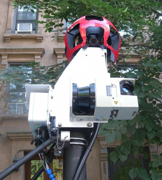 Close-up of one of Google's vehicle-mounted 360-degree cameras.