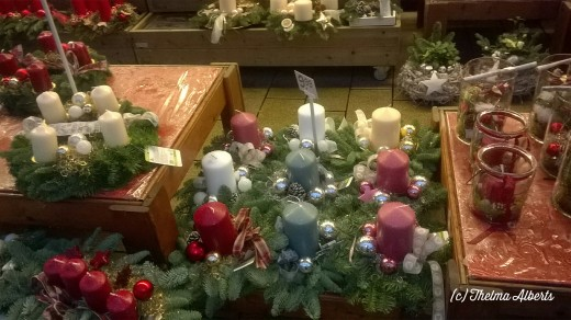 Advent candles for sell at the flower shop.