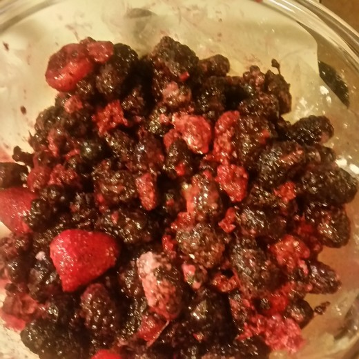 Berry mixture ready to drain
