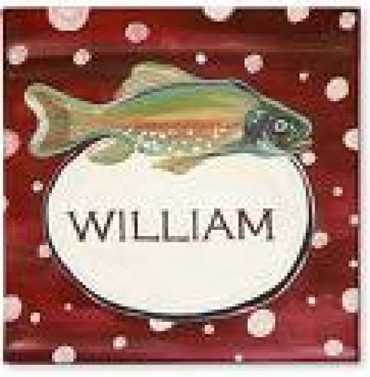 "Add some fishing gear along with this sign and you have a ""personalized Christmas gift"" ready for William"