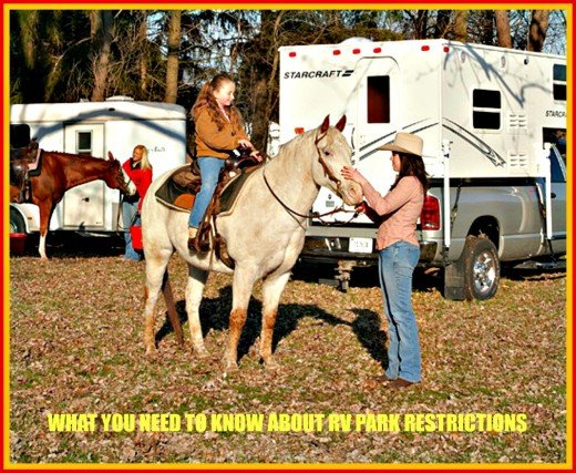 RV parks have many restrictions.  Some will allow horse camping while others will not.
