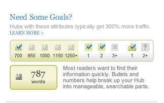 This goal list is at the top right of the article while you are in edit mode.