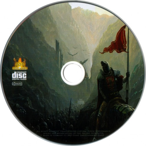 The CD image portrays or shows a warrior standing outside a castle while holding the flag of his homeland. Large birds are in the air near the castle walls.