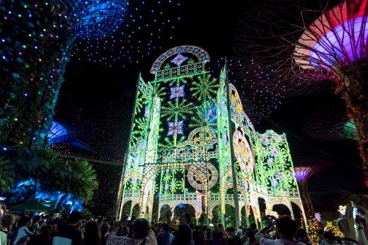 The largest luminarie surrounded by Gardens by the Bay's iconic supertrees.