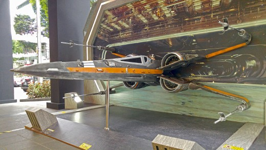No snowy village or sweet shops at the entrance of The Centrepoint this year. Instead, a rugged X-Wing Fighter greets visitors.