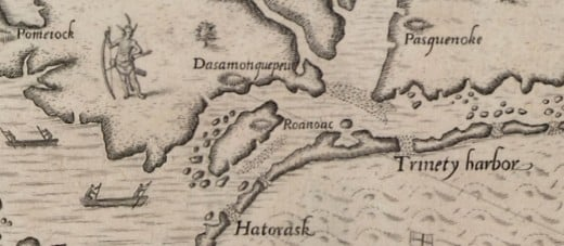 Old Colonial map showing Roanoke, where the lost colony once lived.