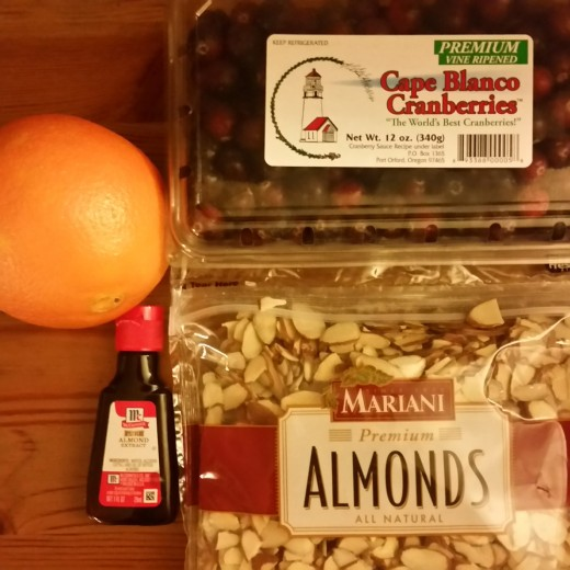 Ingredients needed to make my special cranberry sauce recipe-- a necessary part of a holiday feast.