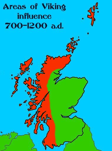 Distribution of Norse population around northern and western Scotland up to AD 1200