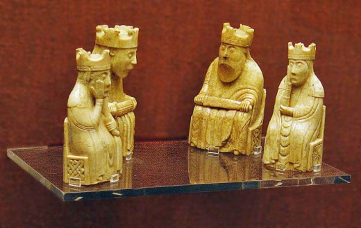 The kings and queens of the Lewis chess set - chess had been introduced to the Norsemen through trade with the east. The Norsemen in turn introduced the game to Britain. (Knut Sveinsson, king of the Danes and English played chess - see Danelaw Years)